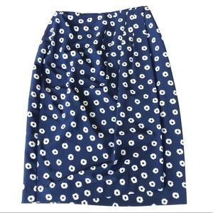 Vintage Navy/White Daisy Wrap Pencil Skirt